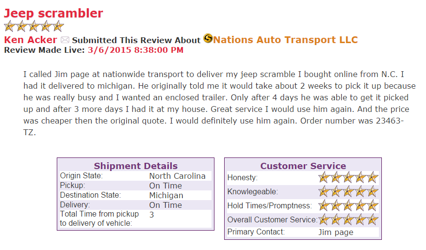 auto transport NC to MI